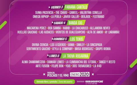 Artistas que tocarán en la cuarta edición de la Fiesta del Pescado y el Vino